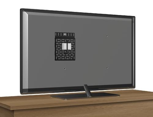 Apple TV Mount and Roku TV Mount on Back of TV
