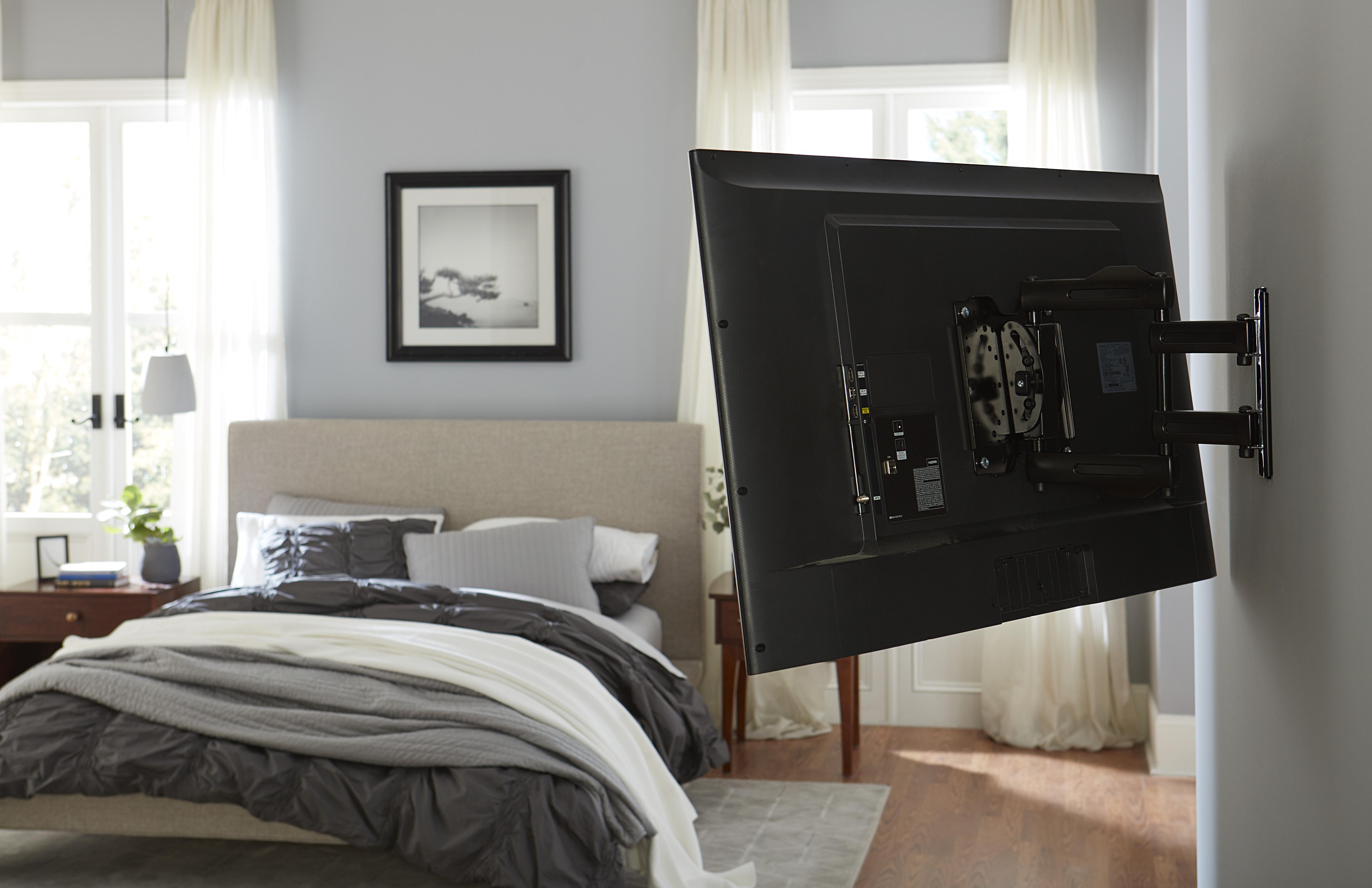 bedroom tv on full motion mount