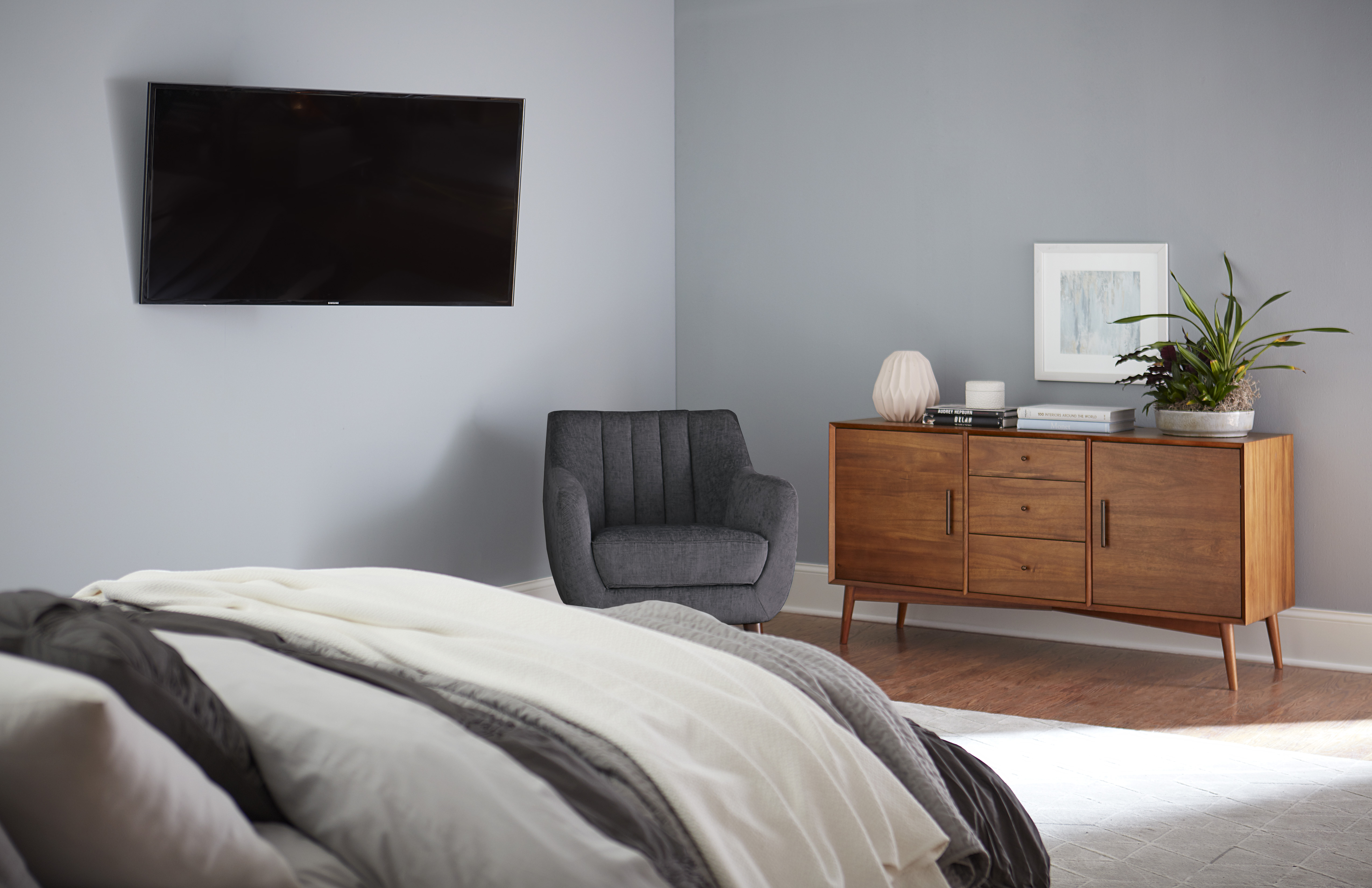 bedroom mounted TV height