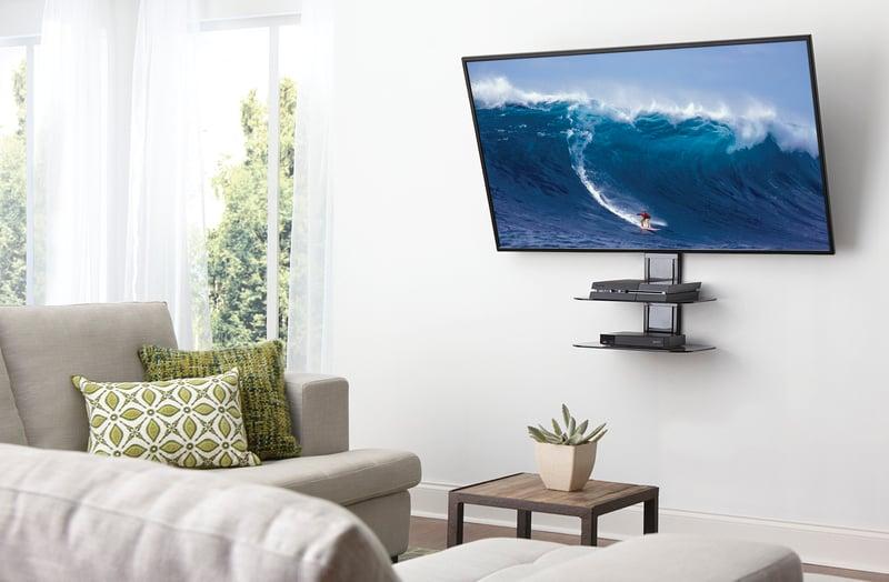 SANUS on wall media shelf for mounted TVs