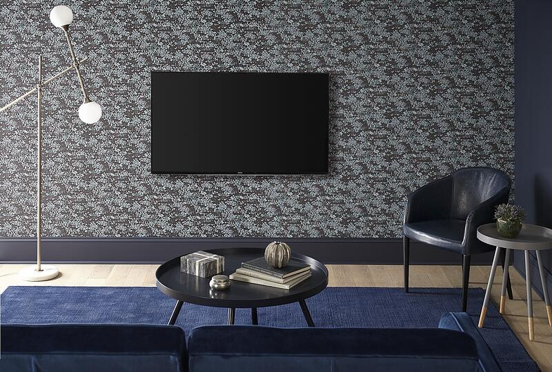 Mounted TV on Wall Paper Wall
