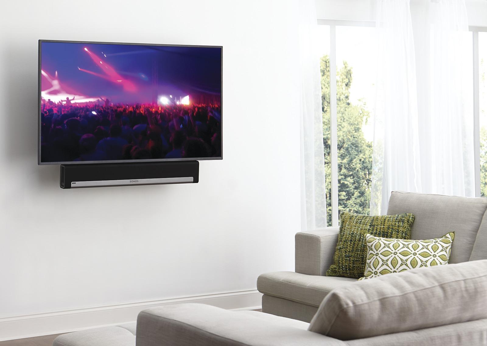 soundbar mounted below TV