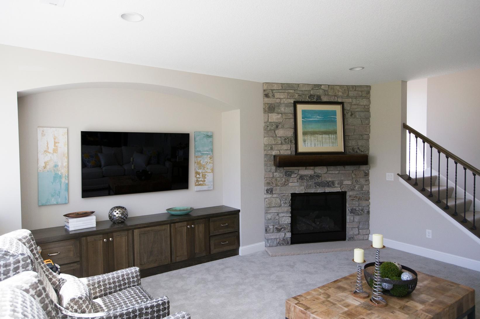 TV next to fireplace