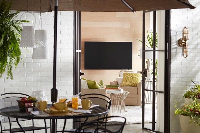 TV in open concept floor plan