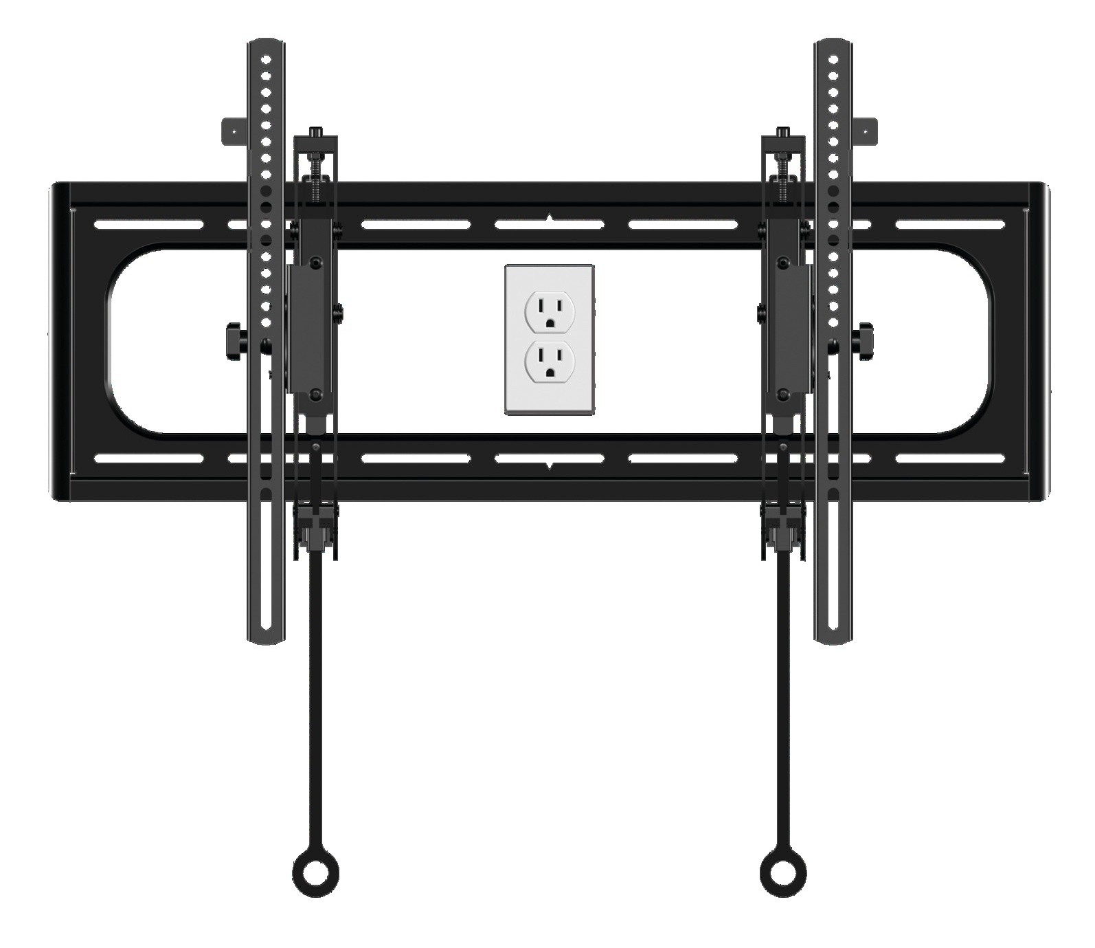 TV mount wall plate template with opening for outlet