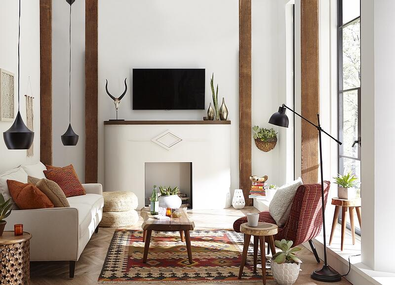 TV mounted over fireplace southwest style room
