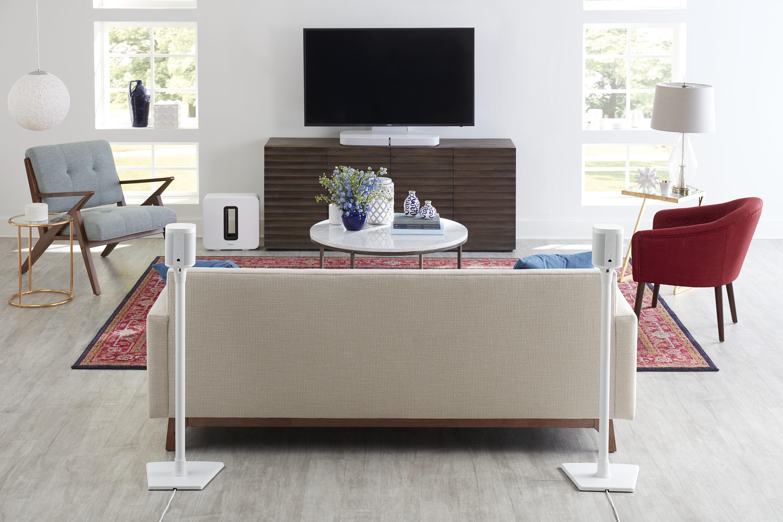 SANUS WSS22-W1 Speaker Stands in Sonos 5.1 Surround Sound Setup