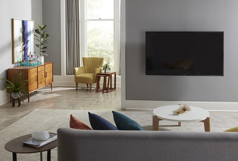 midcentury modern TV room