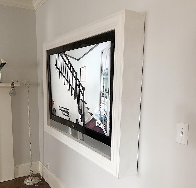 mounted TV with frame