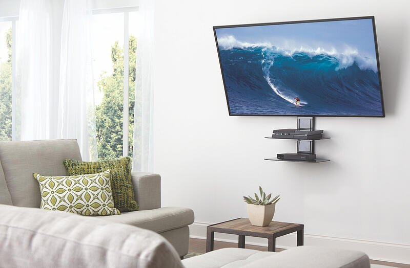 mounted tv with on wall shelf