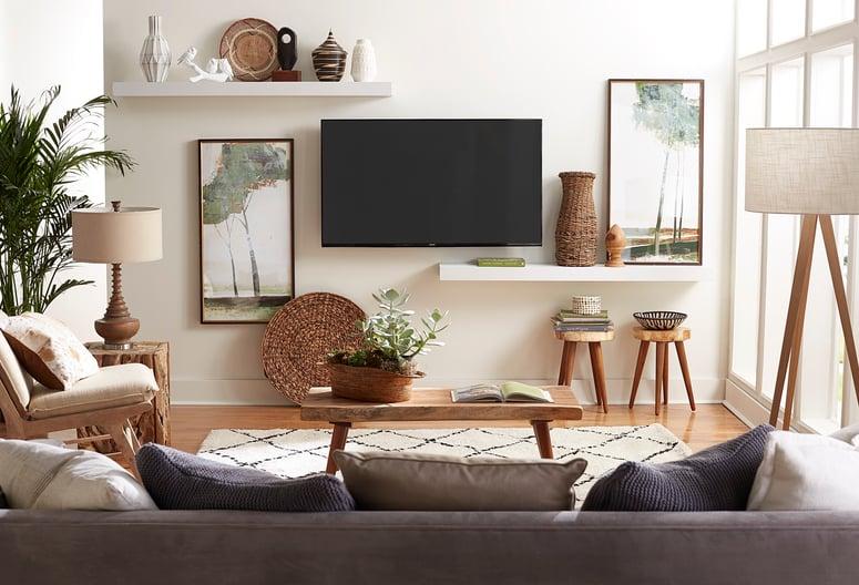 floating shelves around tv